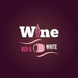 Wine bottle red and white design background Stock Photography