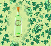 Wine bottle with seamless grape background Stock Images