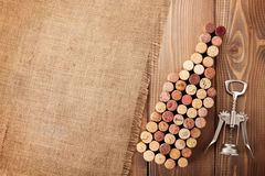 Wine bottle shaped corks and corkscrew Stock Image