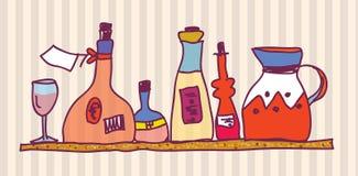 Wine bottle shelf home design Royalty Free Stock Photos