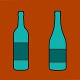Wine bottle sign set. Bottle icon Stock Photos