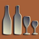 Wine bottle sign set. Bottle icon. Сrockery. Royalty Free Stock Images