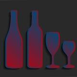 Wine bottle sign set Bottle icon  Сrockery Stock Photography