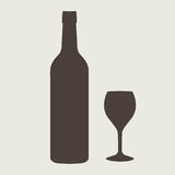 Wine bottle sign set. Bottle icon Royalty Free Stock Photography