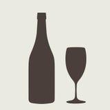 Wine bottle sign set. Bottle icon Royalty Free Stock Photos