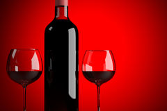 Wine bottle with two glasses vector illustration