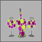 Wine bottle and two glasses with grapes Royalty Free Stock Image
