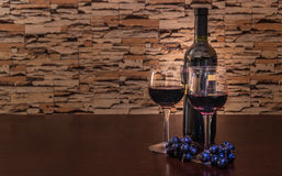Wine bottle and two glasses Royalty Free Stock Image