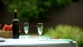Wine bottle and two glasses on table in summer garden, preparations for dinner stock images