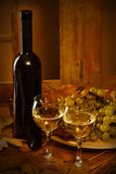 Wine bottle with a two glasses Royalty Free Stock Photo