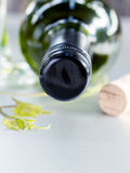 Wine bottle with vine and wine cork . Wine bottle with vine and wine cork put on the board Royalty Free Stock Image