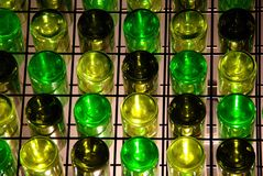 Wine Bottle Wall Matrix. A matrix pattern of upside down wine bottles at the National Wine Centre, Adelaide, South Australia Stock Photo