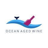 Wine bottle wave design label illustration stock illustration