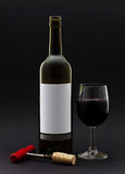 Wine bottle and wine in a glass Stock Photo