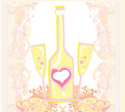 Wine bottle and wine glass Royalty Free Stock Images