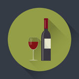 Wine bottle and wine glass flat round icon. Stock Photos