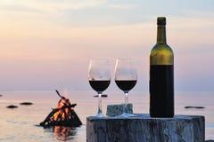 Wine bottle and wine glasses Stock Photo