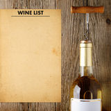 Wine bottle and wine list Royalty Free Stock Images