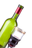 Wine bottle and wineglass Stock Photography