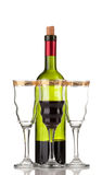 Wine bottle and wineglass Royalty Free Stock Photography