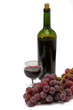 Wine bottle and wineglass Royalty Free Stock Images