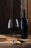 Wine bottle and wineglass in cellar setting Royalty Free Stock Photo