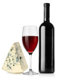 Wine bottle, wineglass and cheese Stock Photo