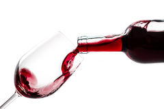 Wine Bottle Wineglass. Red wine splash isolated on white background. Use for restaurant cafe Stock Images