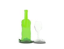 Wine bottle and wineglass. Splinters of a wine bottle in the form of a bottle and a wineglass Royalty Free Stock Photo