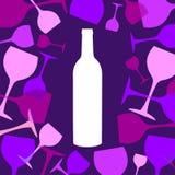Wine bottle and wineglasses background Stock Photos