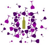 Wine bottle and wineglasses silhouettes background vector illustration