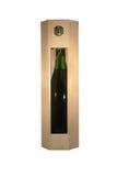 Wine bottle wood box stock photo