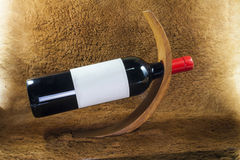 Wine bottle wooden  holder Royalty Free Stock Photo