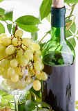 Wine bottle and young grape Royalty Free Stock Images
