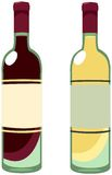 Wine bottles. Illustration of two bottles of red and white wine vector illustration
