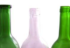 Wine bottles. Three bottles of wine isolated on a white background Stock Photo