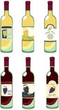Wine bottles. Illustration of some bottles of red and white wine royalty free illustration