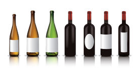 Wine bottles. With shadow and reflection Stock Image