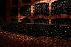 Wine-bottles. Wine bottles in the wine cellar Royalty Free Stock Images