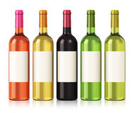 Wine bottles. Set of color wine bottles with blank labels isolated on white background with reflection effect vector illustration