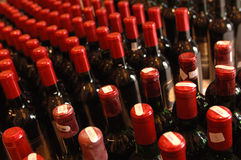 Wine bottles. Many wine bottles on line Royalty Free Stock Photos