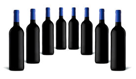 Wine bottles. Collection of bottles of wine on a white background Royalty Free Stock Photo