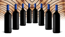 Wine bottles. Collection of bottles of wine on a wood background Stock Photo