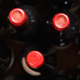 Wine bottles above view Stock Image