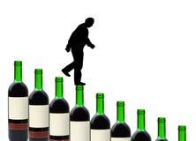 Wine bottles and alcoholic man. Isolated on white background royalty free stock photography