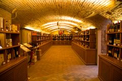Wine bottles in authentic Italian wine cellar Royalty Free Stock Images