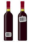 Wine bottles with bar code tag Royalty Free Stock Image