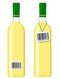 Wine bottles with bar code tag Royalty Free Stock Images