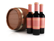 Wine bottles and barrel. On white background. 3d rendering illustration Royalty Free Stock Image