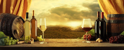 Wine. Bottles, barrels and vineyard in sunset royalty free stock photography